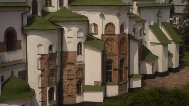 Kyjev Sofia kostel, Sofie Kyjevské, venkovní, hnědé a bílé zdi, věže, Naklonit nahoru