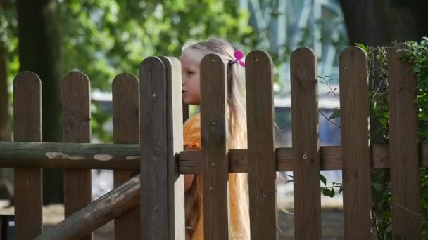 Girl Have Entered to The Yard by Door in Wooden Fence Little Girl With Long Fair Hairs in Orange T-Shirt is Playing Outdoors at the Playground Sunny