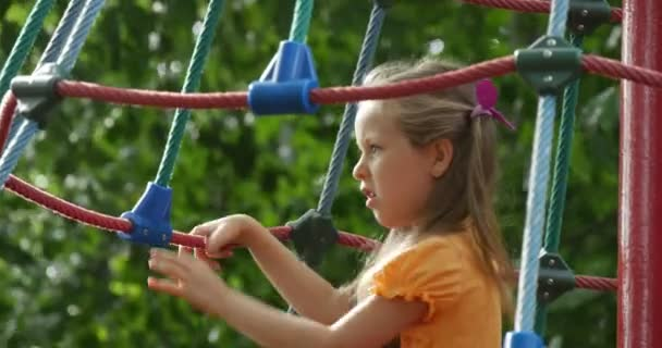 Girl is Climbing to The Rope Stairs Hanging on the Rope Stairs Swinging on Rope Little Girl With Long Fair Hairs Two Ponytails Lilac Bows Playground
