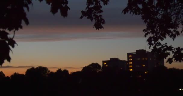 Bytové domy objekty Windows jsou osvětlené banky stromy větve siluety most přes řeku Twilights večer při západu slunce sledování vlevo