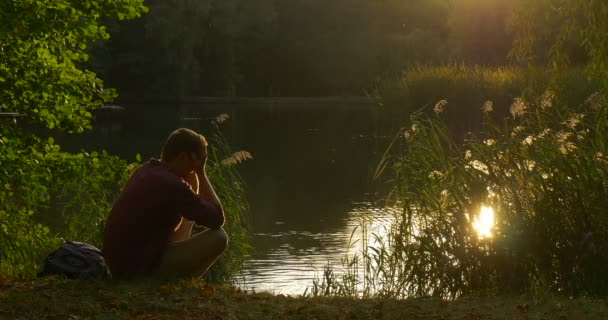 Man is Sitting at Lake Bank Man's Silhouette Man is Holding Few Blades Put them Down Cover His Face with Hands Sun Shines to Face Mallard is Swimming
