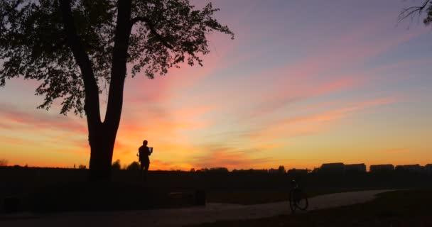 Man es Silhouette at Sunset Man steht auf einem großen Stein Took the Laptop Out Arbeiten mit Laptop Freelance Programmer Designer Texter Buchhalter