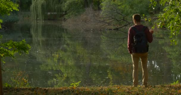 Man With Backpack Came to The Forest Lake Banck Walks Away Tourist at Overgrown Banks Rippling Water Trees Reflection in the Water Fallen Dry Treer