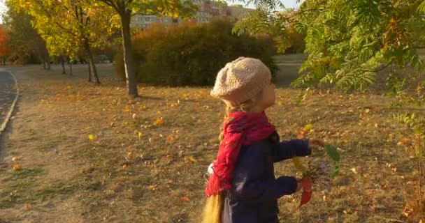 Girl Approaches to Rowan Tree and Picks the Leaf for Her Bouquet Little Girl With Blonde Braid in Beret Red Scarf and Jacket is Walking in Park