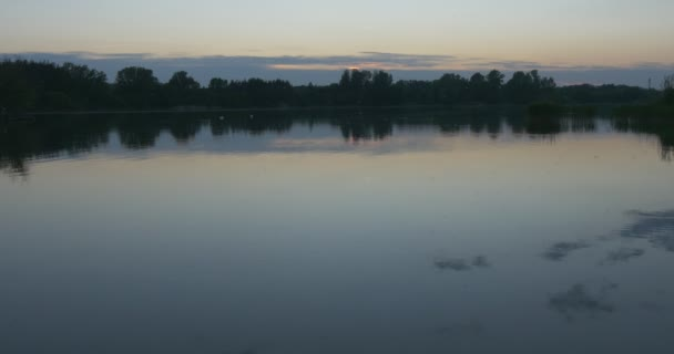 Rippling Water, Wide Shot, Horizon,Trees` Silhouettes,Blue Sky, Horizon, Smooth Weather, Twilight,Evening, Pond, Landscape