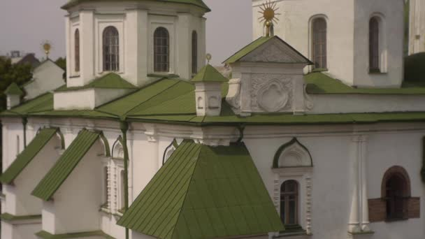 Kyjev Church Sofia, Sofie Kyjevské, detail exteriéru, zelené střechy, sledování vpravo, věže katedrály