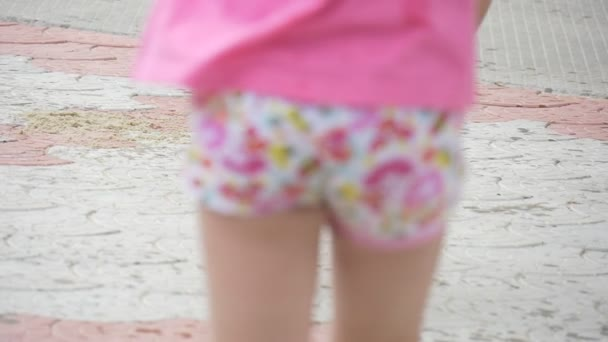 Children, Kids Are Playing at The Playground, Girls Feet Closeup, Walking by Paved Road, Girl in Brown Skirt, Another Girl, Boys Feet, Slow Motion