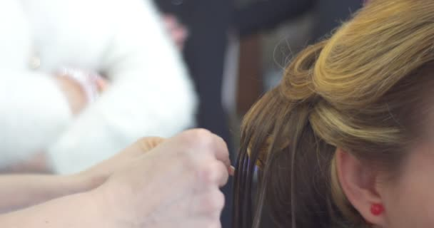 Stylist Hairdresser is Making The Hairstyle Styling the Hair Strands Using Styling Gel Woman with Long Brown Hairs Barbershop Hairdressing Beauty Salon