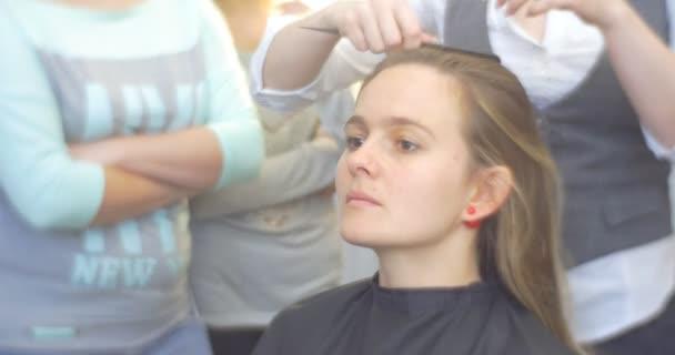 Kadeřník kadeřník je česání klient oddělující vlasy pramen tvorby The účes žena s dlouhé hnědé vlasy holičství Kosmetický Salon