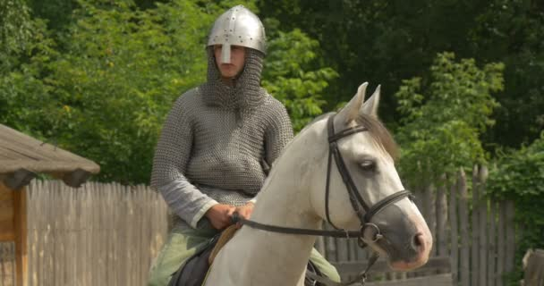 Two Actors, Horsemen, Knights, Brown And White Horses in Chain Armors and Helmets, Closeup