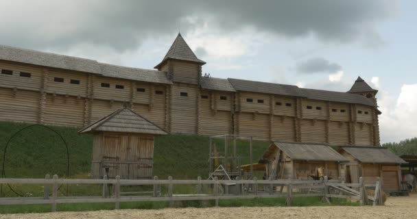 Ancient City Reconstruction, City Wall with Embrasures, Wooden Buildings, Stadium