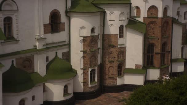 Kyjev Church Sofia, Sofie Kyjevské, exteriér, Tilt nahoru, zlaté báně a zelené střechy Closeup