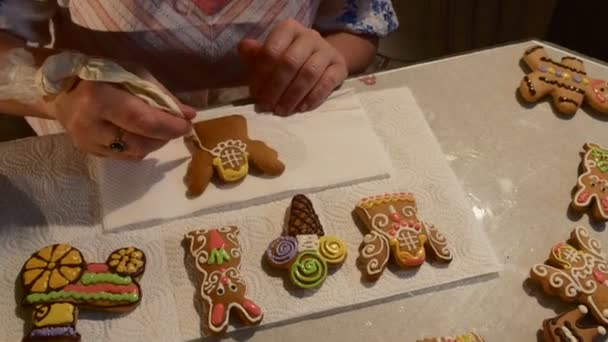 Hands Are Painting With White Mastique Angel Cookie Woman Is Decorating A Christmas Cookies Biscuits