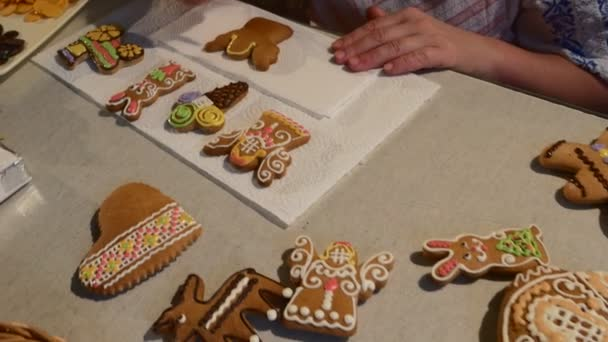 Hand Is Pushing White Mastique Angel Cookie Woman Is Decorating A Christmas Cookies Biscuits Decorated