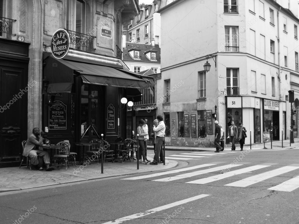 Paris Scenes Wallpaper Paris Street Scene In Black And White