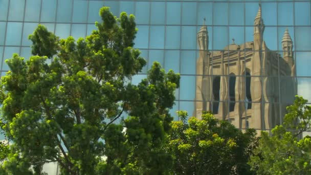 reflection of a Victorian Gothic Revival cathedral