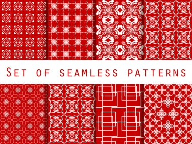 Set of seamless patterns. Geometric patterns. Red color. For wallpaper, bed linen, tiles, fabrics, backgrounds. Vector illustration.