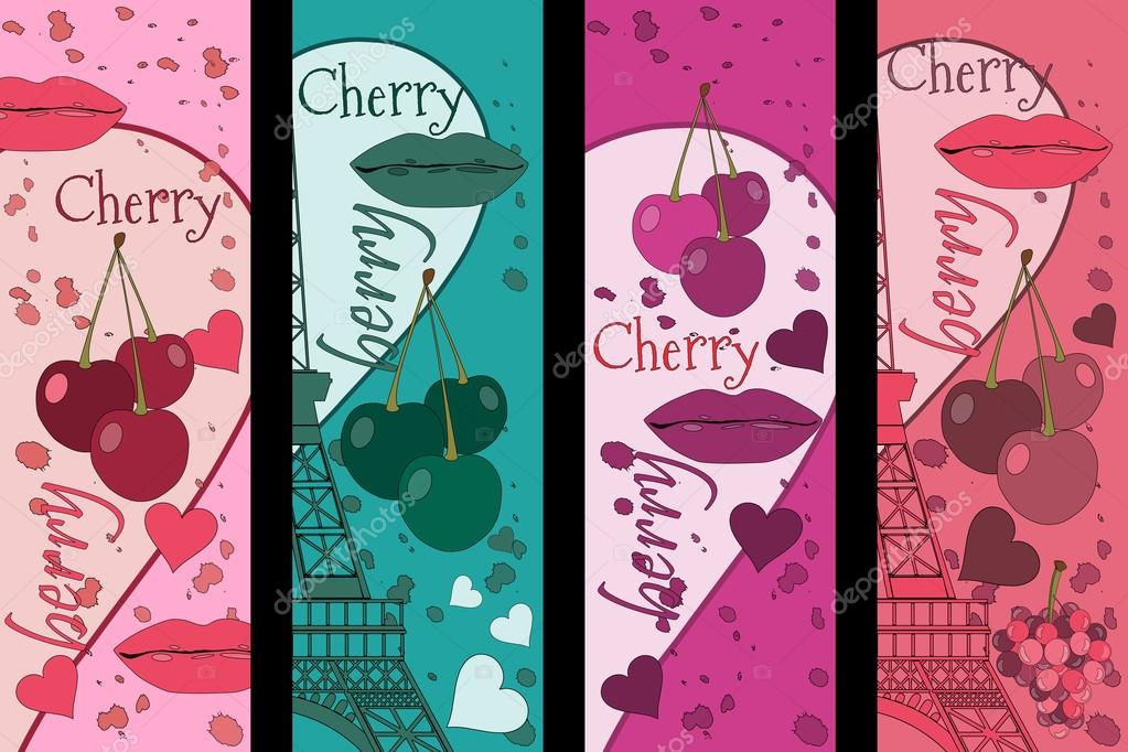 Collage de la Torre Eiffel, una cereza y un beso. Set romántico ...