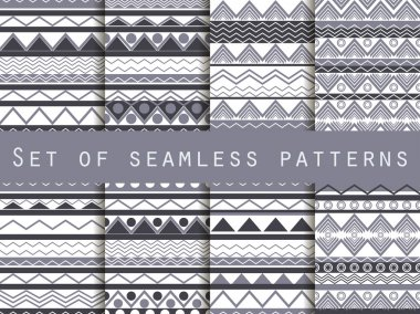 Set the texture seamless in ethnic style. Geometric seamless pattern. For wallpaper, bed linen, tiles, fabrics, backgrounds. Vector illustration.