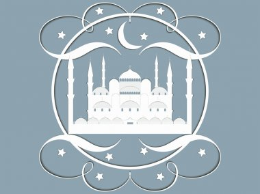 Paper Mosque. Blue Mosque. Ramadan Kareem celebration. Holy Month. Vector illustration.