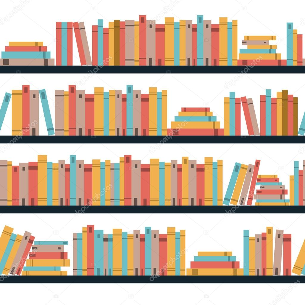 Seamless Books Pattern With Library Bookshelf Bookstore On A Shelves In Flat Book Shelf