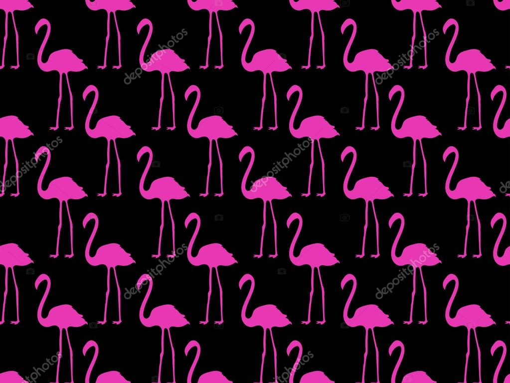 Seamless pattern with pink flamingos, seamless flamingo, bird pattern. Vector.