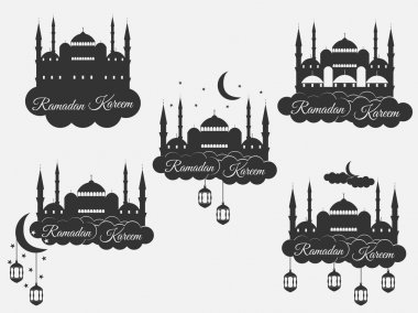 Ramadan Kareem, blue mosque, minaret, lantern and moon, muslim holiday lights. Set isolation banners, logos. Vector.