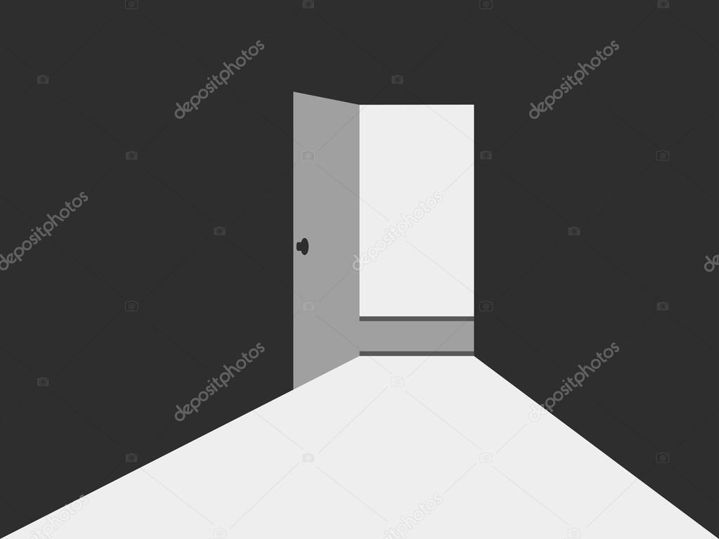 Open door with light Light from the open door Open door to a dark