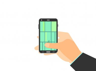 Hand holding mobile phone. GPS navigation, map of the locality enabled on smartphone. Vector illustration.