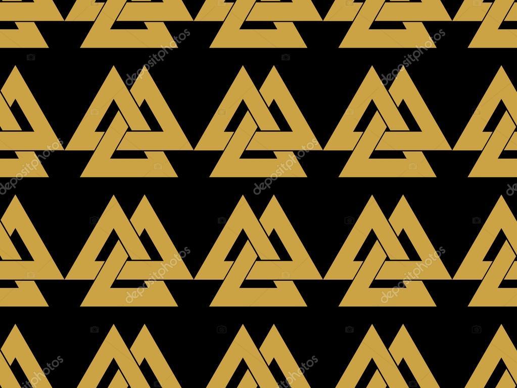 Seamless Pattern With The Symbol Of The God Odin Valknut Vector