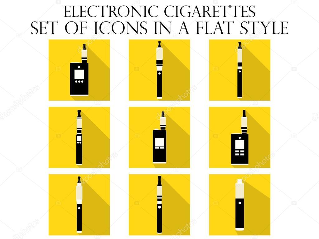 Elektronische Zigarette flache Symbole. Verschiedene Arten von e ...