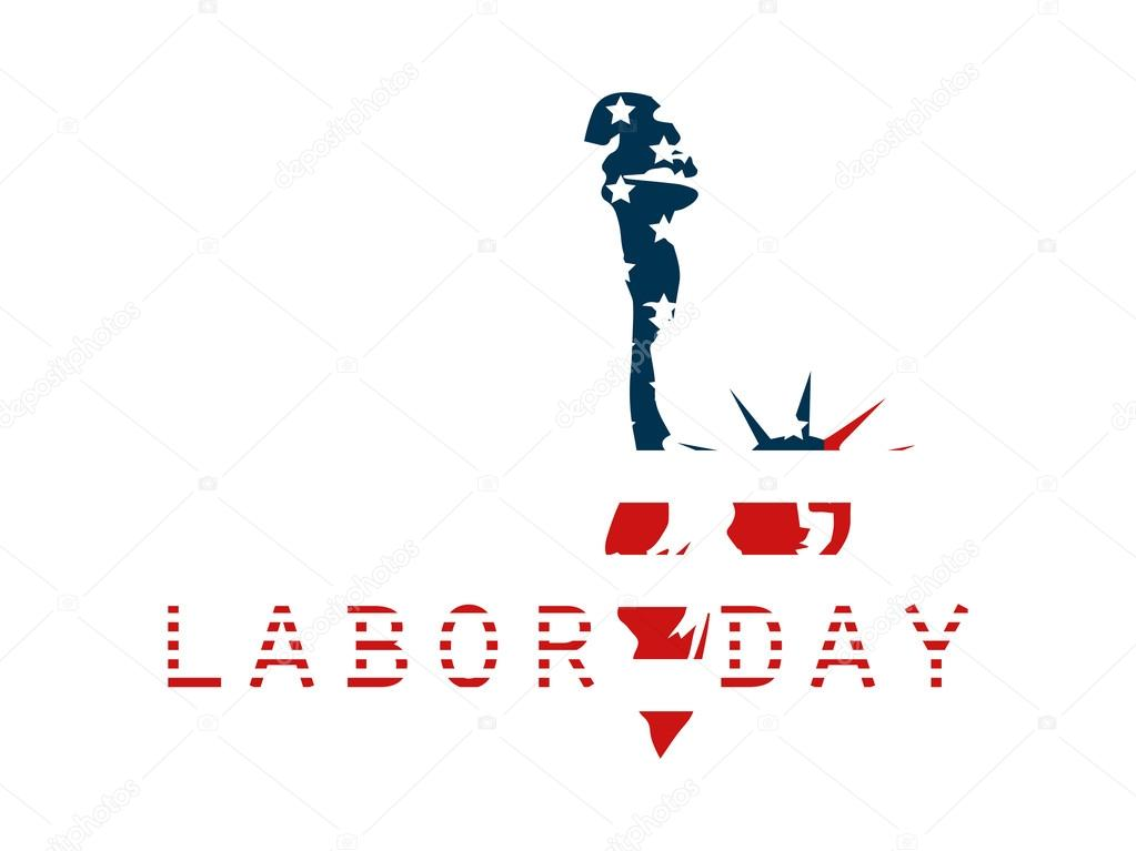 Labor Day Feiertag, Freiheitsstatue mit der Inschrift Farben der ...