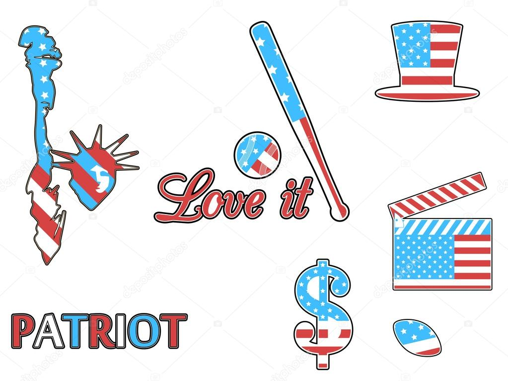 Us Symbols In The Patriotic Colors Of Isolation On A White