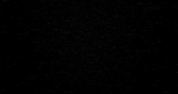 Fehér részecskék örvénylése fekete alapon. Repülő absztrakt makrorészecskék örvénye. Horizontális összetétel, 4k videóminőség