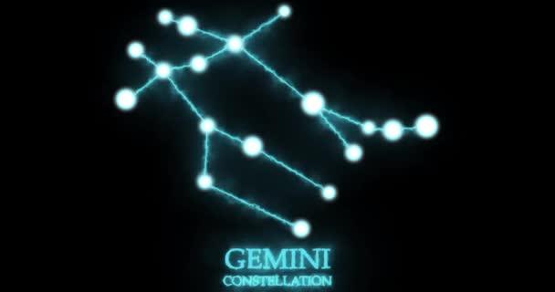 Sternbild Zwillinge. Lichtstrahlen, Laserlicht mit blauer Farbe. Sterne am Nachthimmel. Sternzeichen - Zwillinge. Horizontale Komposition, 4k Videoqualität