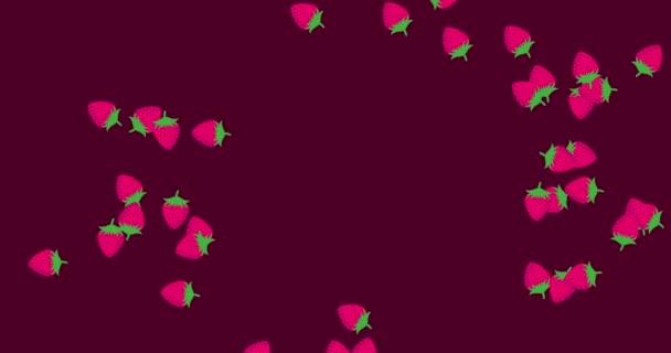 Jahodová pohybová animace. Jahody létají různými směry. Horizontální kompozice, kvalita videa 4k