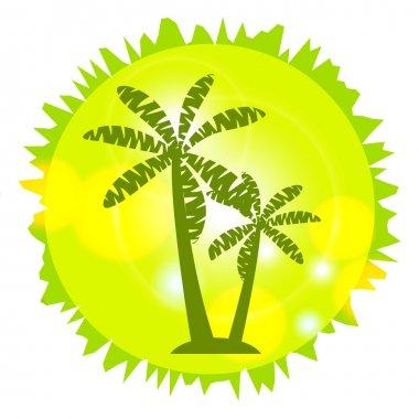 Palm Island. Palm trees in a circle. Logo design, circuit palms.