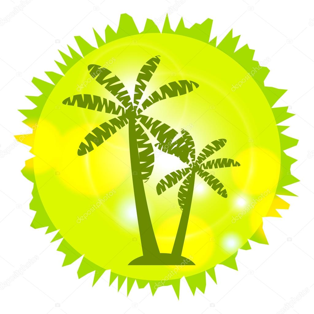 Palm Island. Palm trees in a circle. Logo design, circuit palms.