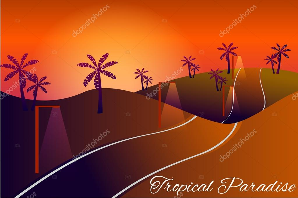 Tropical paradise. Road into the sunset. Tropical twilight . Beautiful summer card