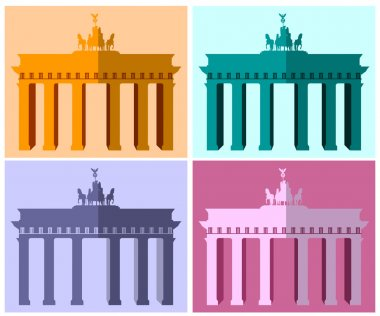 Brandenburg Gate in Berlin. Flat icon set. Harmonious colors.