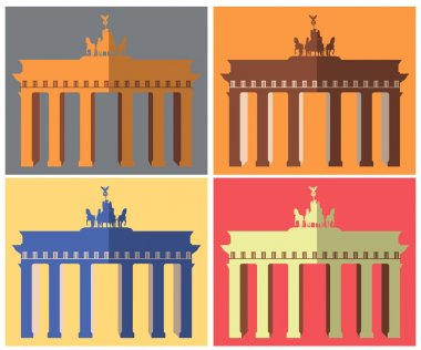 Brandenburg Gate in Berlin. Flat icon set. Harmonious colors.