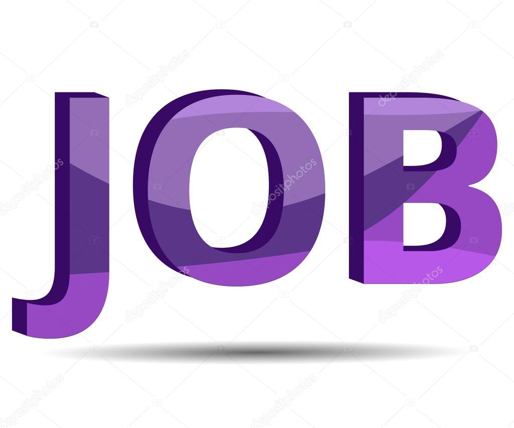 Job description. Word job on a white background. Shadow. recruitment. Banner inscription.
