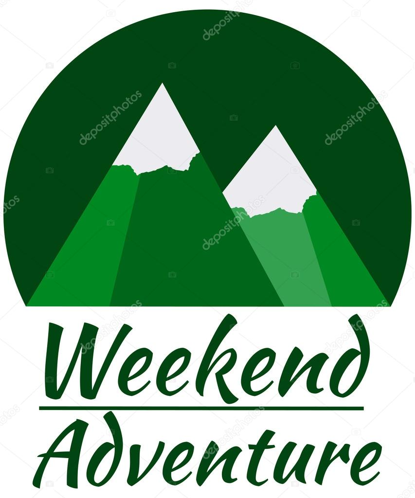 Weekend adventure in the mountains.  Design element in a flat style. Mountain adventure.