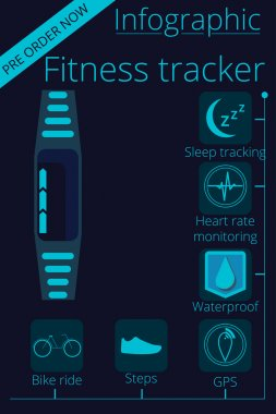Smartwatch. Fitness tracker.  Activity tracker. Vector promotion infographic. Key features are shown as icons.