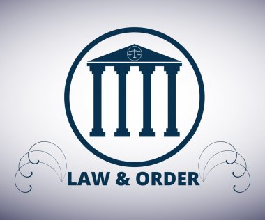 Law and order. Courthouse. The building with columns. Vector icon. Logo.