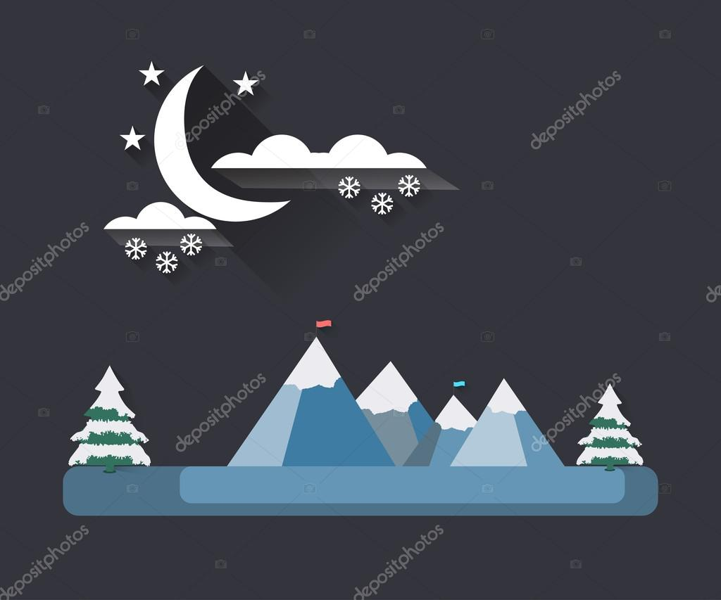 Winter landscape with a flat style. Moon with clouds on the mountain tops. The falling snow. Snow-covered trees. The flag on top. The long shadow. Vector illustration.