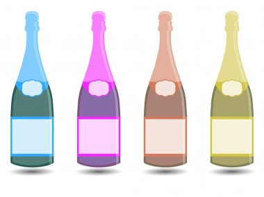 Champagne. A bottle of wine. Vector illustration in a flat style