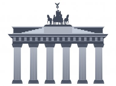 Brandenburg Gate in Berlin. Isolated on white background.