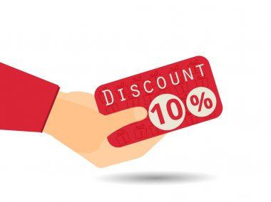 Discount coupons in hand. 10 percent discount. Special offer. Gi