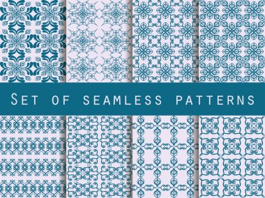 Set of seamless patterns. Geometric patterns. The pattern for wallpaper, tiles, fabrics and designs. Vector illustration.